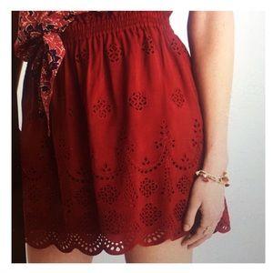 Madewell Red Eyelet Mini Skirt